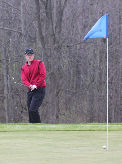 Connor Hoke's chip shot on the 11th hole at LaFontaine Golf Club, in Huntington, runs out of gas before going in the hole during the Huntington North High School boys' varsity golf team's meet against visiting Columbia City on Thursday, April 25.