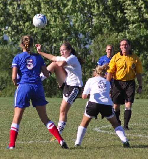 Kelsey Hollowell plays the ball for Huntington North during girls' soccer action against visiting Kokomo on Tuesday, Sept. 11. The Lady Vikings lost 4-1.