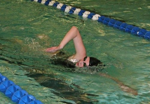 Huntignton North swimmer Addison Clark churns it out in the 500-yard freestyle during tyhe Warsaw Swimming and Diving Sectional on Thursday, Jan. 31.