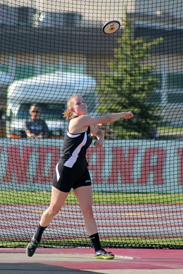 Lady Viking Onna Doering launches the discus at the Marion Track and Field Sectional on Tuesday, May 14, at Indiana Wesleyan University. Doering won the event to help the Lady Vikings win as a team.