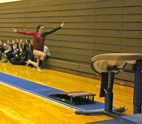 Huntington North gymnast Carly Snyder gets ready to take off during the vault competition at the Huntington North Gymnastics Regional on Friday evening, March 14.