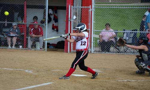Lady Viking Makayla Whaley laces a double against visiting Logansport on Wednesday, May 8. The Lady Vikings won 10-2.
