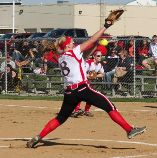Huntington North pitcher Erin Rethlake gets ready to unleash a pitch during her no-hitter against visiting Fort Wayne Bishop Dwenger on Monday, April 22.
