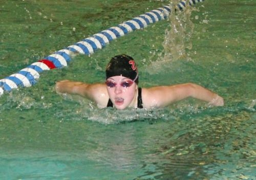 Huntington North's Alivia Eiting comes up for a breath of air during the 200-yard individual medley at the Warsaw Girls' Swim Sectional on Thursday night, Feb. 6.