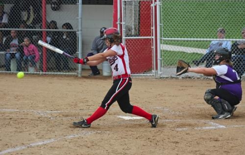 Lady Viking Alexa Hill knocks in a run against visiting Muncie Central on Tuesday, April 29, as HNHS won, 19-0.