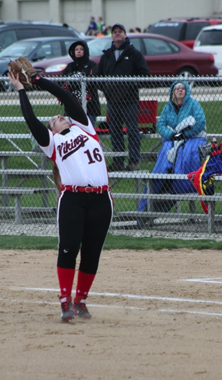 Lady Viking first baseman Kaylynn Rosen stretches back to catch a wind-blown pop-up against visitiing Blackford on Friday, May 2.