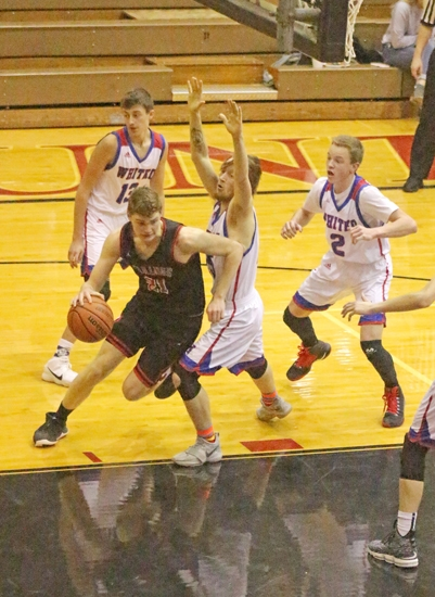 Huntington North forward Mitch Geller takes the ball to the basket against Whitko in an afternoon game of the Holiday  Hoops Tournament at North Arena on Thursday, Dec. 28. The Vikings won, 63-33.
