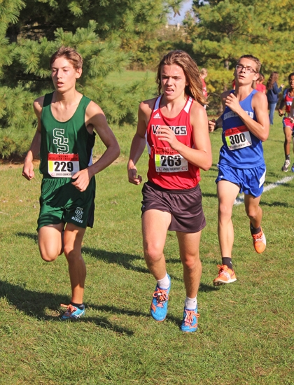 Huntington North High School sophomore Wilson Whicker competes Saturday, Oct. 14, at the Marion Boys' Cross Country Regional. Whicker placed third for the Vikings as Huntington North took home the regional crown.