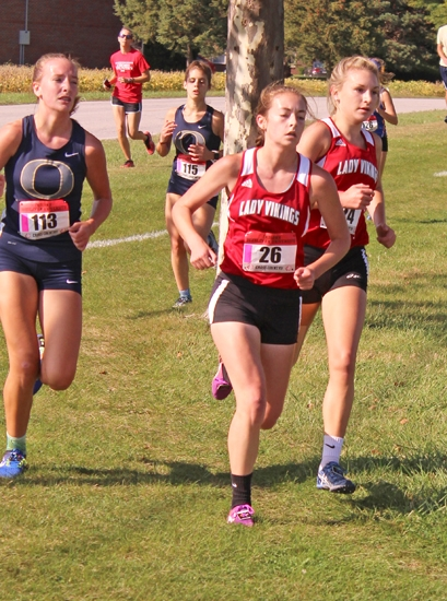 Lady Viking runners Emma Melcher (left) and Kendyl Coles compete at the Marion Girls' Cross County Sectional on Saturday, Oct. 7, at Indiana Wesleyan Univeristy. The Lady Vikings placed second as a team to advance to next week's regional, again at IWU.