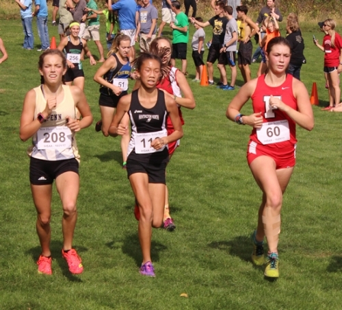 Huntington North freshman Hanna Whitney drives forward at the New Haven Girls' Cross Country Semi-state on Saturday, Oct., 21, at The Plex, in Fort Wayne.