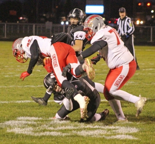 Huntington North defensive back Jackson Holzinger brings down a Mississinewa ballcarrier on Friday night, Nov. 1, at the Huntington North Sectional second round at Kriegbaum Field. The Vikings' season ended with a 30-6 defeat.
