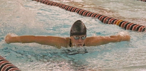 Alayna Stroup, a sophomore on the Huntington North High School girls' swim team, competes in the 100-yard butterfly during a meet against visiting DeKalb on Tuesday, Dec. 19. Stroup placed second in the race in 1:26.34. The Lady Vikings won the meet, 108-62.