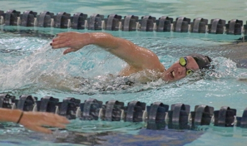 Allie Aschliman, a senior on the Huntington North High School girls' varsity swim team, competes in the 500-yard freestyle during a meet against visiting DeKalb on Tuesday, Jan. 7. Aschliman won the race in 6:10.84 and the Lady Vikings defeated the Lady Barons, 85-77.