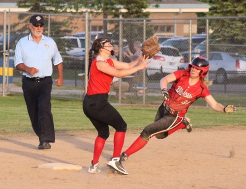 Laney Shaw (right), a sophomore on the Huntington North High School softball team, steals second base during a game against North Side in the semifinals of the Homestead Sectional on Wednesday, May 23. The Lady Vikings thumped the Lady Legends, 9-2, to advance to the sectional championship game.
