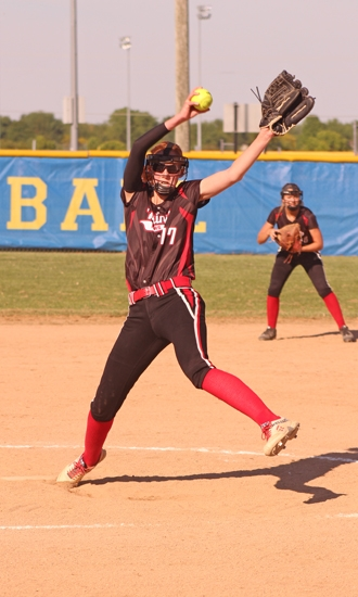 Kendra Arnold, a senior on the Huntington North High School softball team, winds up for a pitch in the championship game of the Homestead Sectional against host Homestead on Thursday, May 24. The Lady Vikings lost, 6-2, bringing their season to an end.