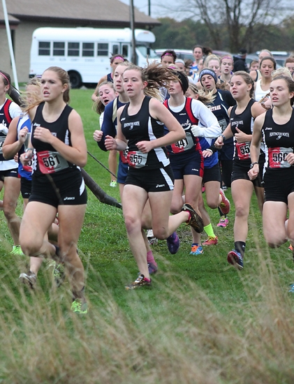 Huntington North High School girls' cross country team members (from left) Stephanie McElhaney, Emily Eherenman, Marissa Jamison and Cassidy Johnson compete at the Marion Regional at Indiana Wesleyan University on Saturday, Oct. 19.