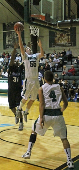 Huntington University forward Shane Merryman goes in for two of his game-high 18 points against Great Lakes Christian on Tuesday, Dec. 4.