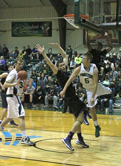 Huntignton University guard Stephen Jones fires a jump-pass to a teammate during the Foresters' 75-50 win over visiting Goshen on Thursday, Jan. 10.