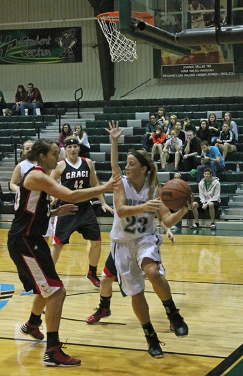 Huntington University guard Lauren Meese looks for an open teammate in the Foresters' 75-52 beatdown of visiting Grace on Saturday, Dec. 1.