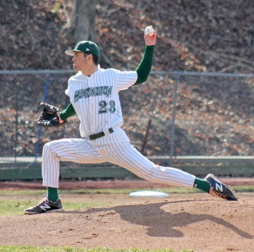 Huntington University left-hander Drew McLochlin is all concentration as he pitches in the opener of a doubleheader against visiting University of Saint Francis on Tuesday, April 1.