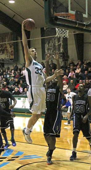 Huntington University center Alec Peterson goes in for a short shot against Silver Lake College in the Foresters' 95-63 win on Saturday, Dec. 14.