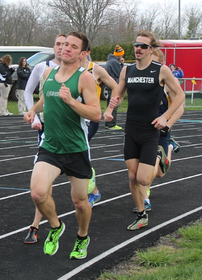 Huntington University runner Lance Wood leads the pack during the 1,500-meter run at the Spartan Classic at Manchester Univeristy on Saturday, April 20. Wood finished fifth in 4:15.95.