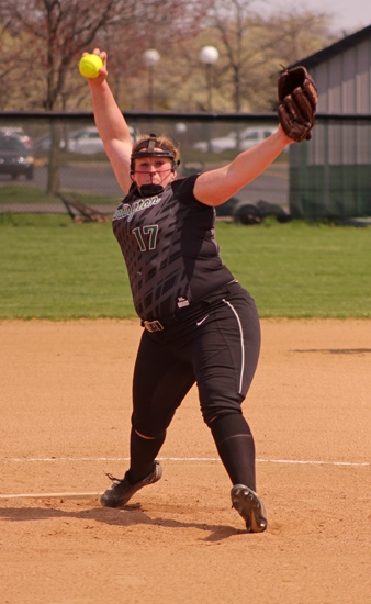 Huntington University pitcher Camille Furrow gets ready to let one loose against visiting Marian University on Friday afternoon, March 14, in the second game of a doubleheader. The Foresters topped No. 4 Marian in the contest to gain a split on the day.