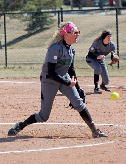 Huntignton University pitcher Ariel Sheets fires one toward home in first game action of a doubleader on Tuesday, April 1, against visiting Goshen College.