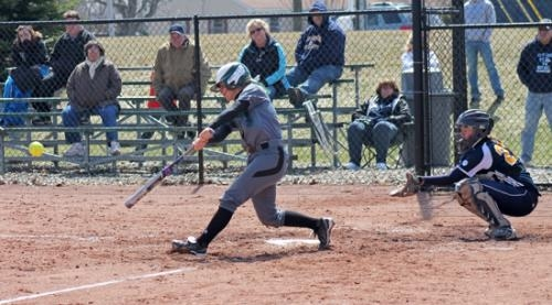 Huntington University's Katie DePew raps a single during the Forester's doubleheader win over visiting Spring Arbor University on Saturday, April 5.