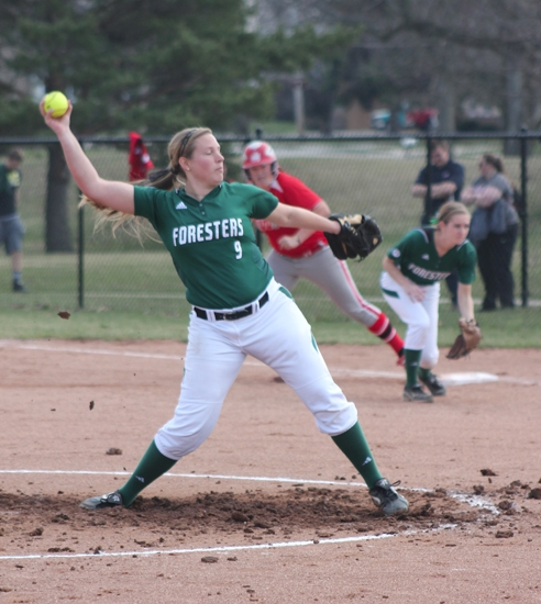 Huntington University pitcher Kaylin Yon winds up to deliver a pitch against visiting Indiana Wesleyan in the first game of a doubleheader on Friday, April 11.