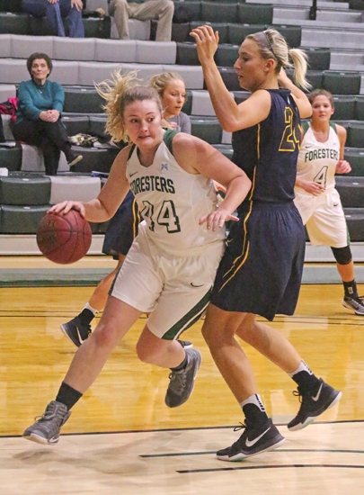 Miranda White (left), a junior on the Huntington University women's basketball team, maneuvers around a defender from visiting Marian University in the lane during a game on Saturday, Feb. 11. The Foresters fell to the Knights, 84-74.