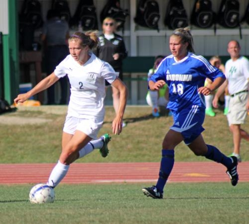 Huntington University's Kailtyn Dreman keeps the ball away from Kelly Capoccia of visiting Madonna University in the Foresters' 2-1 loss on Tuesday, Sept. 3.