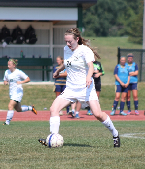 Huntington University senior midfielder Sam Cubic advances the ball on offense for the women's soccer team in its game against visiting Cornerstone University on Saturday, Sept. 7. The Foresters fell 3-0.