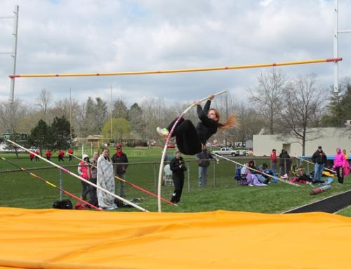 Huntington University's Heather Johnson heads skyward during the pole vault at the Spartan Classic at Manchester University on Saturday, April 20.