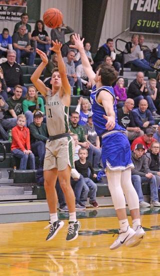 Huntington University forward Hank Pulver shoots a jumper against visiting Bethel on Saturday, Jan. 11, at Platt Arena. The Foresters lost, 87-61.
