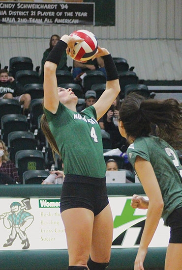 Huntington University senior volleyball player Jennings Tacosik makes contact with the ball during play against Spring Arbor University on Saturday, Nov. 7.