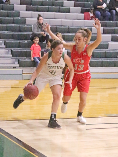 Huntington University point guard Maddie Richer drives past Jene'e Goodwin of Indiana Wesleyan University on the baseline in action Saturday afternoon, Dec. 2, at Platt Arena. The Foresters lost to the No. 23 Wildcats, 60-59.