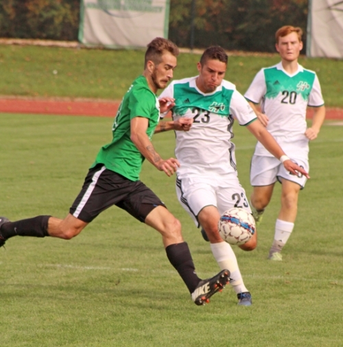 Huntington University defender Noah Stanford makes life difficult for a Mount Vernon Nazarene University player during action Saturday, Oct. 14, at King Stadium. The Foresters won, 2-0.