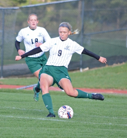 Huntington University midfielder Matea Knispel prepares to put her foot into a long pass during action against Marian University at King Stadium on Wednesday afternoon, Oct. 25. The Foresters and Knights tied, 0-0, after two overtimes.