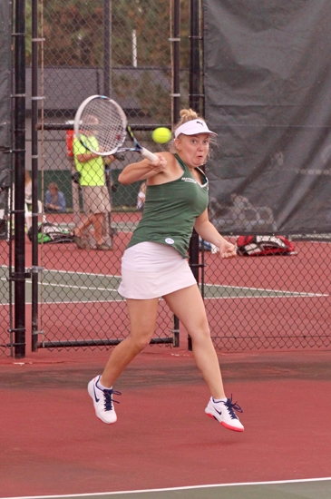 Anastasiia Evstifeeva, one half of Huntington Univeristy's third doubles team, returns a shot during action against visiting Indiana Wesleyan University on Tuesday afternoon, Sept. 19. The Foresters lost, 1-8.