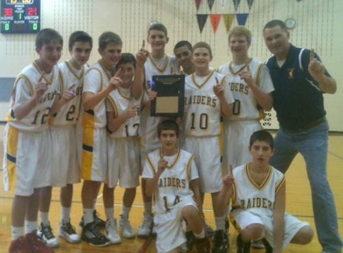 The Riverview Middle School boys' seventh grade basketball team won the 7th Grade Boys Northeast Lakes Middle School Conference championship game over host Crestview, 38-24, on Saturday, Jan. 26.