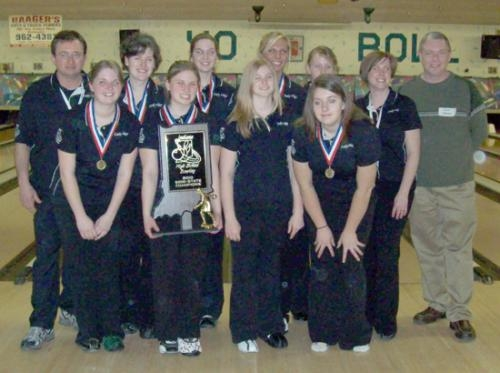 The Huntington North High School girls' bowling team displays its Richmond semi-state championship trophy on Saturday, Feb. 13. The team will compete in the state championship this Saturday, Feb. 20, at Anderson.