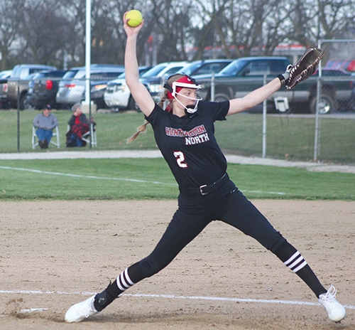 Huntington North High School softball player Mara Hendryx helped the Lady Vikings softball team earn a win in 3.5 innings against Angola High School on Tuesday, March 30.