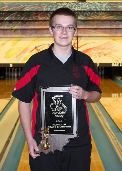 Zac Tackett, a junior on the Huntington North boys' varsity bowling team, is the Indiana boys' bowling individual state champion, claiming the title at Woodland Bowl, in Indianapolis, on Saturday, Feb. 15.